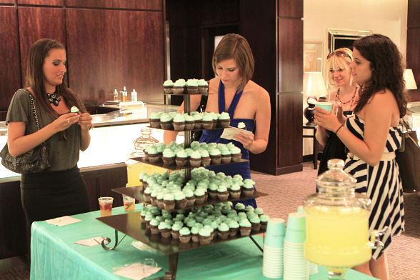 Guests enjoy refreshments at Fashion's Night Out at Tiffany & Co. inside Caesars Palace