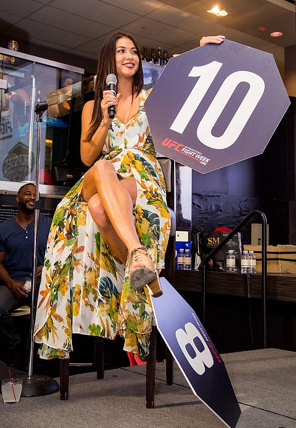 UFC's Arianny Celeste, Stipe Miocic, Rashad Evans, Uriah Hall and Bruce Buffer at Lip Sync Challenge at Lagasse's Stadium Inside The Palazzo Las Vegas