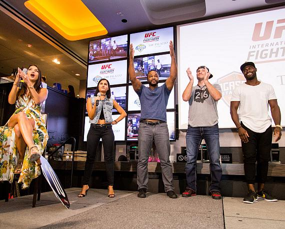 Rashad Evans hypes up the crowd at the UFC Lip Sync Challenge at Lagasse's Stadium