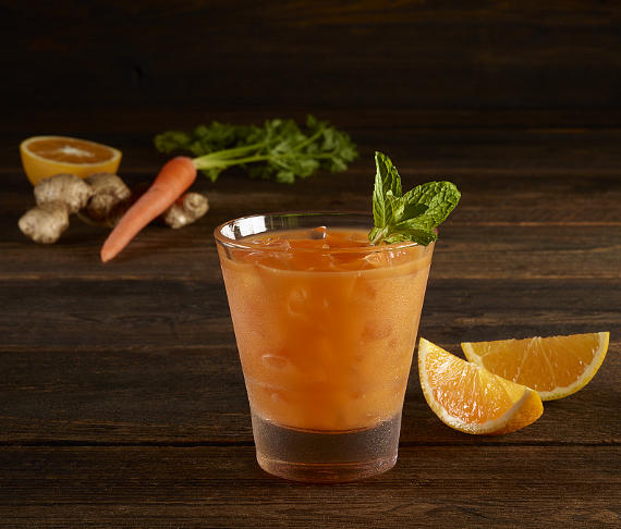 Wascally Wabbit (alcohol free) - a mix of carrot juice, apple juice, orange juice, ginger and Orgeat and garnished with a large mint sprig