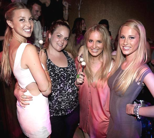 Whitney and Paige Port with friends at Vanity