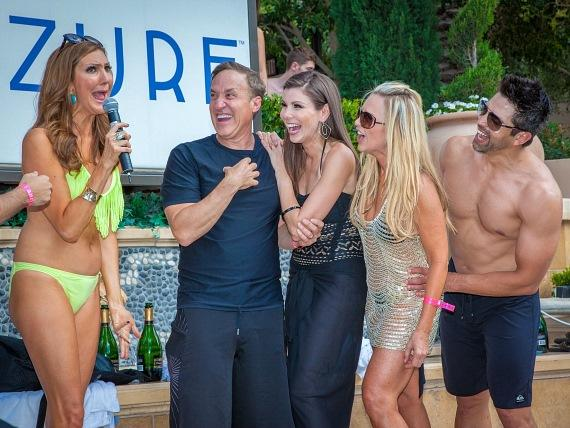 Heather McDonald, Dr. Dubrow, Heather Dubrow, Tamra Barney and Eddie Judge at Azure Luxury Pool