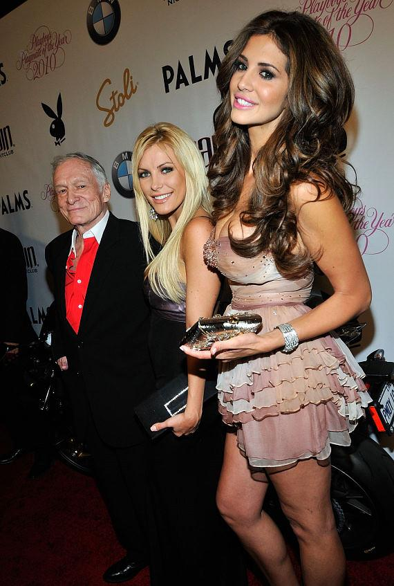 Hugh Hefner, Crystal Harris and Hope Dworaczyk, Playboy's 2010 Playmate of the Year