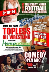 Sapphire Las Vegas Offers Monday Night Football Viewing plus Topless Oil Wrestling on Sept. 18!
