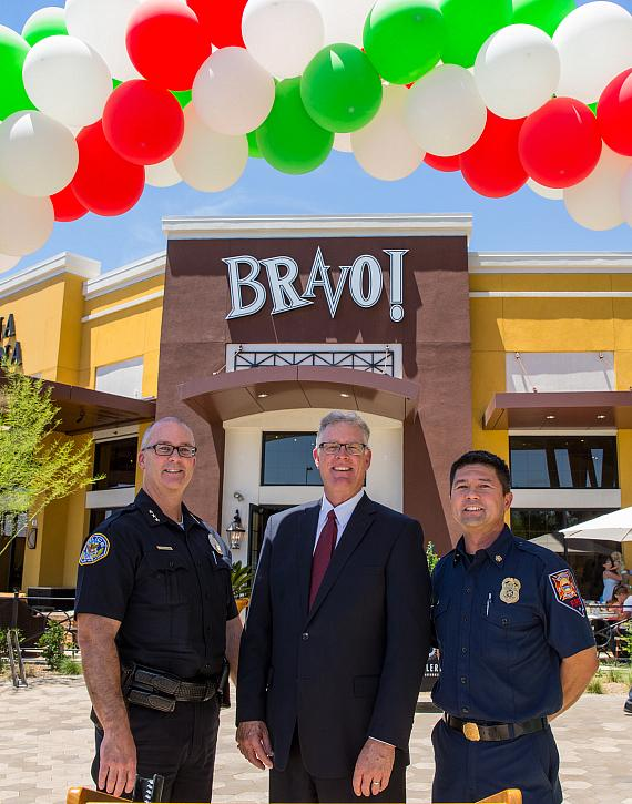 Henderson Fire Chief (R), Henderson Mayor Andy Hafen (C) and Henderson Deputy Police Chief (R) joined BRAVO! Cucina Italiana at the opening