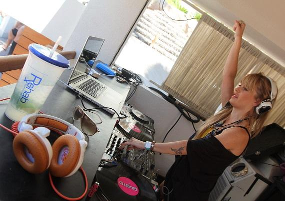 Taryn Manning spins at Revel pool party at Hard Rock Hotel & Casino