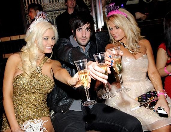 Holly Madison, Jack Barakat and Angel Porrino cheers to 2011 at Lavo Las Vegas