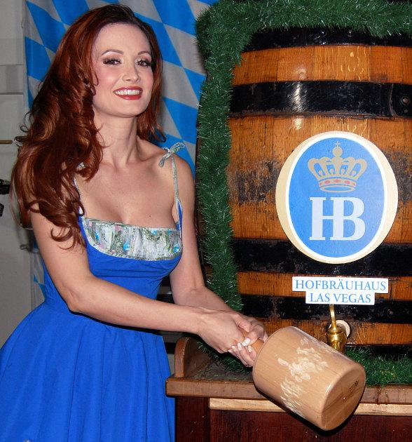 Holly Madison and UFC fighter Ricardo Abreu at Hofbräuhaus Las Vegas