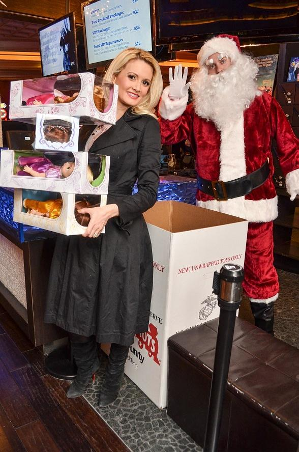 Holly Madison and Thunder From Down Under Donate Toys to Toys For Tots at Minus5 Ice Bar
