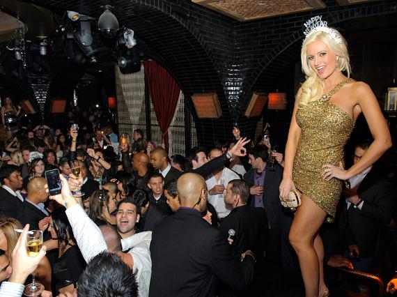 Holly Madison and crowd at Lavo Las Vegas