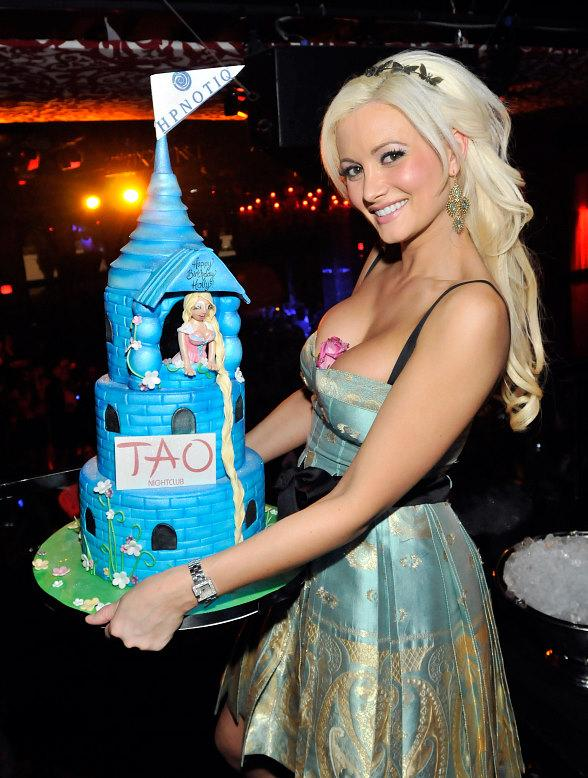 Holly Madison and cake at TAO