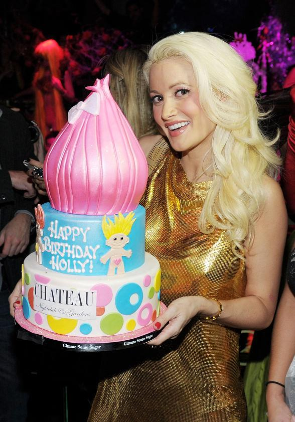 Holly Madison with her troll themed birthday cake at Chateau Nightclub &amp; Gardens
