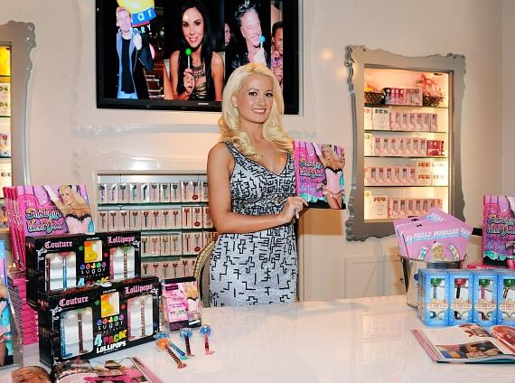Holly Madison with her new book and Sugar Factory's famous Couture Pops