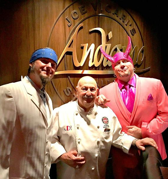 """Ryan Evens (l) and Horny Mike (r) of """"Counting Cars"""" with Chef Joe inside Andiamo Italian Steakhouse"""
