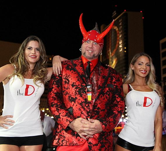"""Counting Cars"" star Horny Mike with the D Casino Hotel Ring Girls at Downtown Las Vegas Events Center"