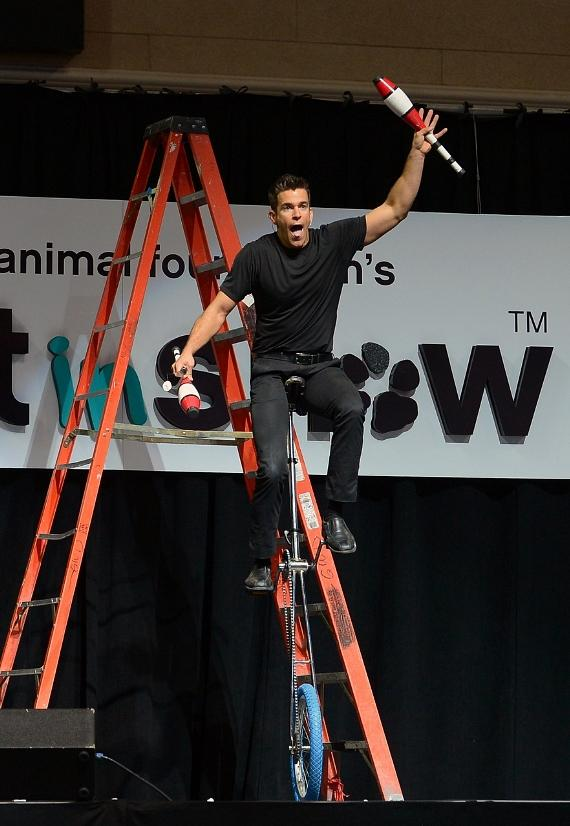 Host Jeff Civillico entertains guests with the help of audience members during the The Animal Foundation's 11th Annual Best In Show