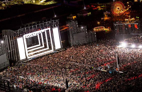 Aerial shot of the huge crowd at EDC in Las Vegas