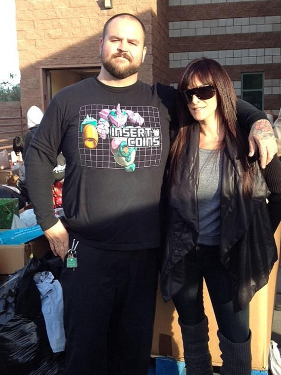 Jesse and Bree DeLano with donations