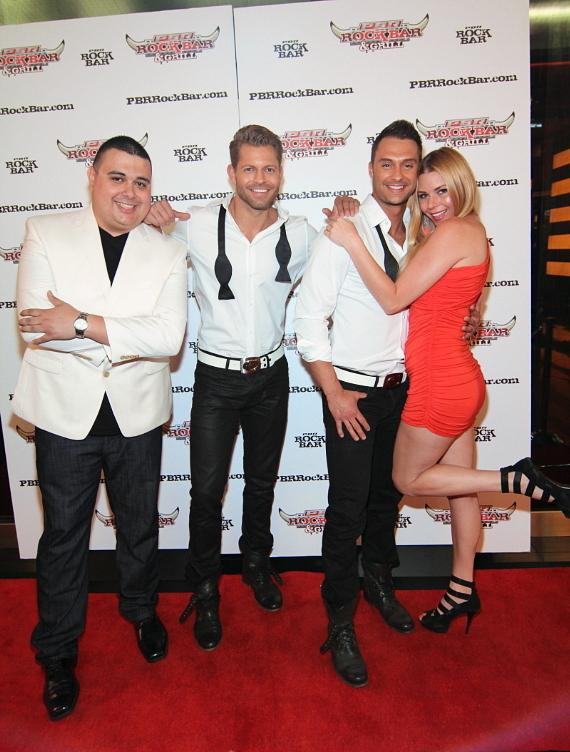 "Robert Blasi, Chippendale dancers Jaymes & James, and Christina ""CC"" Christensen"