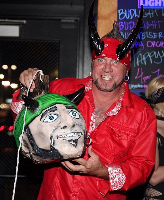 Horny Mike with custom piñata of his head