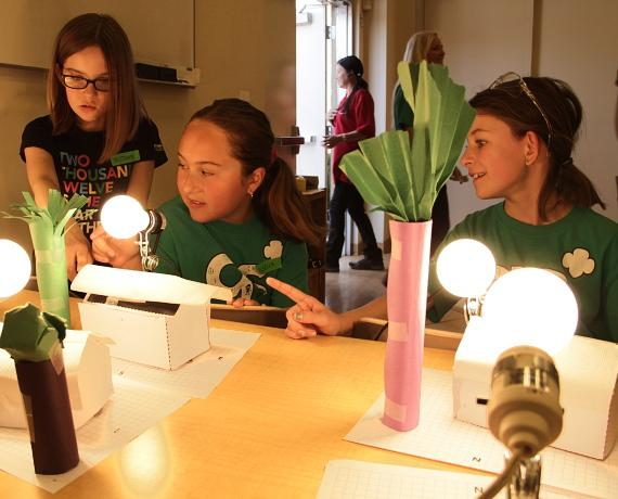 Girl Scouts learn about house insulation