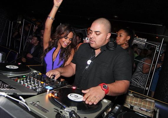 Christina Milian in DJ booth at Moon Nightclub inside Palms Casino Resort