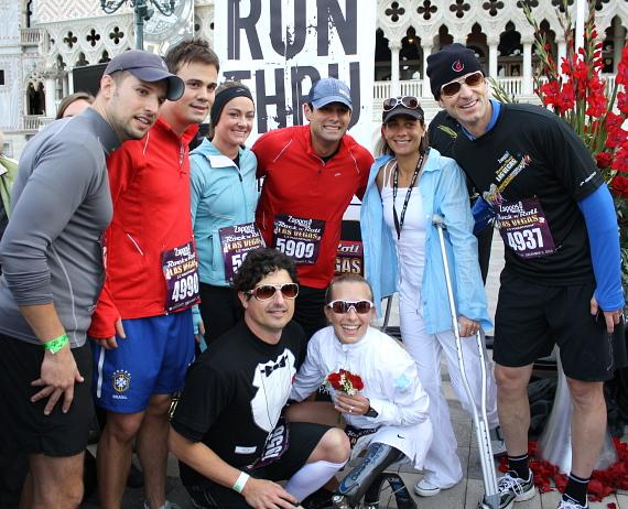 """Ironman Triathlon-alumni Sarah Reinertsen and husband pose with fellow runners and Jason Mesnick and Molly Malaney of """"The Bachelor"""""""