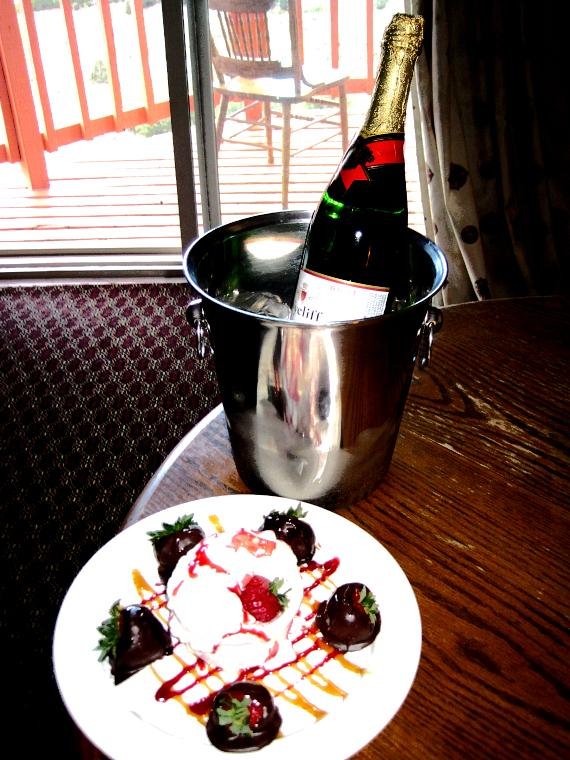 Champagne and strawberries in the room