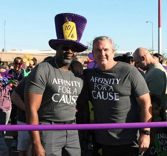 Affinity Gaming CEO Michael Silberling with Affinity Gaming employee Ray Green at the Walk to End Alzheimer's start line. Courtesy Affinity Gaming.