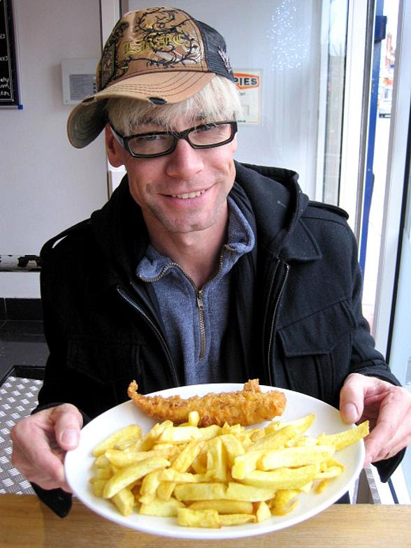 Murray with fish & chips in Chloe's hometown of Portsmouth in England