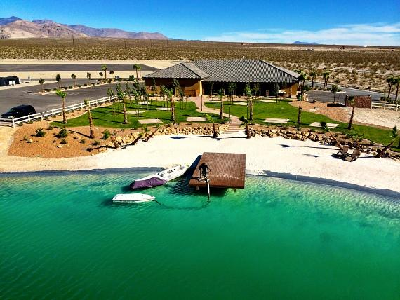 The brand-new eight-acre freshwater lake at Spring Mountain Motorsports Ranch