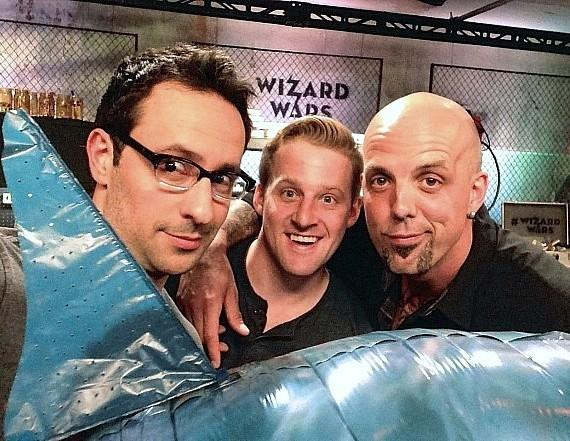 Wizard Wars creator/producer Rick Lax in the Magic Workshop with two of the Challengers from tonight's episode: Wes Barker and Matt Johnson.