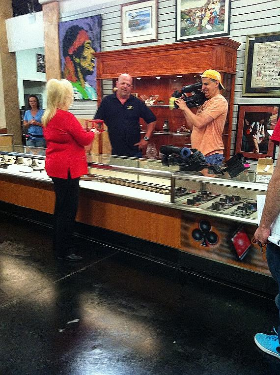 Gay Blackstone and Rick Harrison tape a segment of Pawn Stars