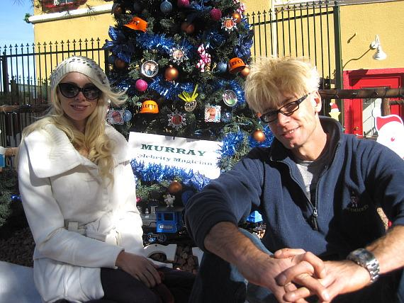 Chloe and Murray with Christmas Tree at Opportunity Village