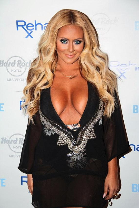 Aubrey O'Day arrives at Rehab at Hard Rock Hotel & Casino