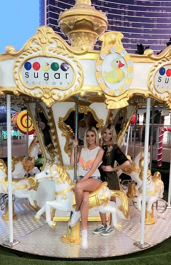 """Bachelor Twins and Stars of """"The Twins: Happily Ever After?"""" Emily and Hayley Ferguson Visit Sugar Factory American Brasserie"""