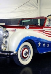 "Liberace Garage at Hollywood Cars Museum adds the late Entertainer's Classic Red, White and Blue ""Bicentennial"" Rolls Royce"