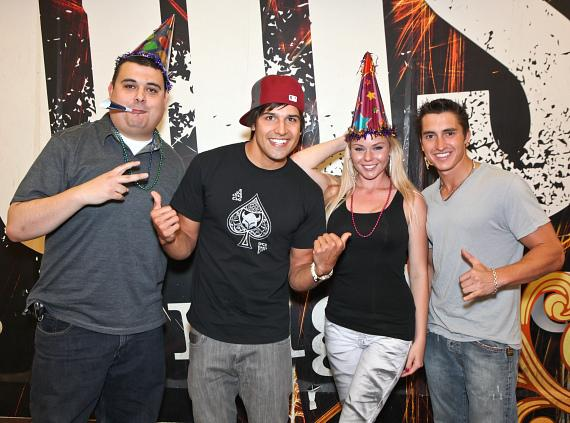 "Robert Blasi, Ricardo Laguna, Kash Kiefer and Christina ""CC"" Christensen celebrate the 4th Anniversary of  Hook Jaw Net Radio at The Rockhouse in Las Vega"