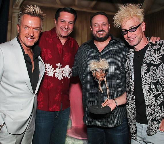 "Chris Phillips of Zowie Bowie, Douglas ""Lefty"" Leferovich, Brand Powers and Murray SawChuck at The Golden Tiki in Las Vegas"