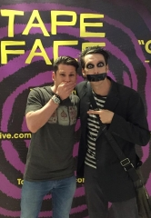 Four Queens Headliner Mike Hammer visits Flamingo Headliner Tape Face