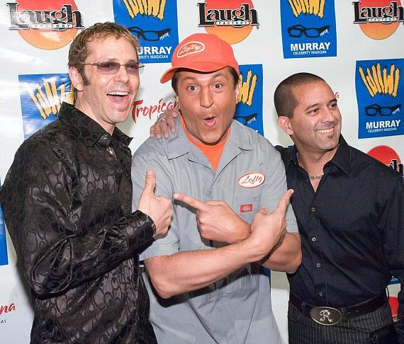"Magicians/musicians Jarret and Raja with Doug ""Lefty"" Leferovich (center)"