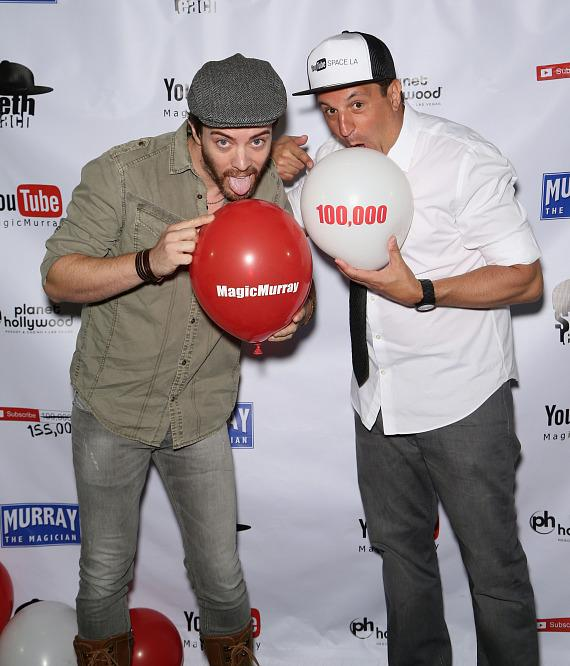 """JD Scott with magician Douglas """"Lefty"""" Leferovich at Murray's 100,000 YouTube Silver Creator Award Party in Las Vegas"""