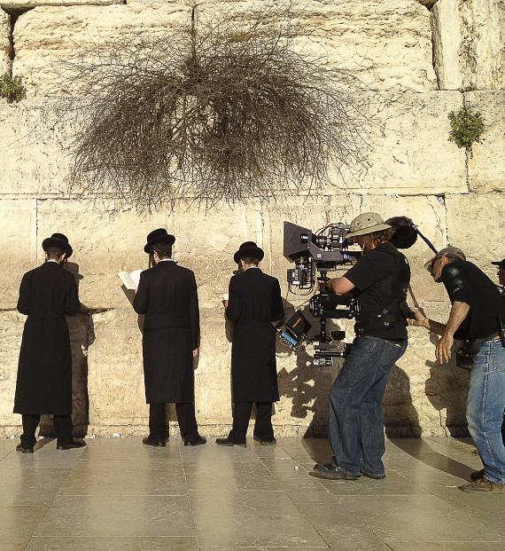 "Cast and crew filming ""Jerusalem"" at Western Wall"