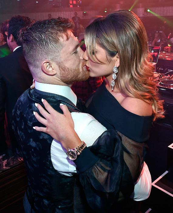 Champion Canelo Alvarez and girlfriend Fernanda Gomez at JEWEL Nightclub in ARIA Resort & Casino