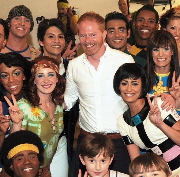 Jesse Tyler Ferguson backstage with cast of The Beatles LOVE