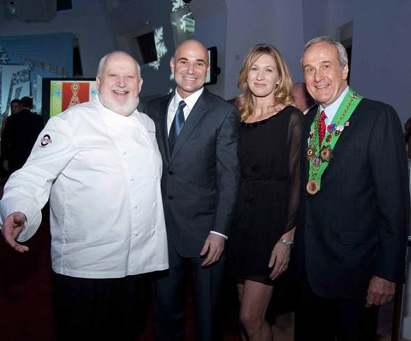 Chef Michel Richard, Andre Agassi, Steffi Graff and Larry Ruvo