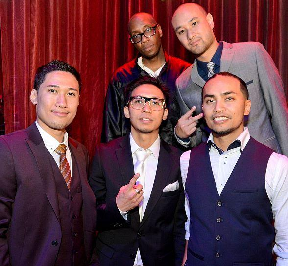 "Jabbawockeez - first row: Tony Tran, Ben"" Chung, Chris Gatdula. Back row: Kevin Brewer, Jeff Nguyen"