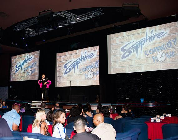 The Sapphire Comedy Hour is performed in the club's 300-seat state-of-the-art showroom