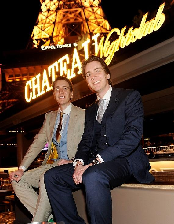 James and Oliver Phelps pose at Chateau Nightclub & Gardens