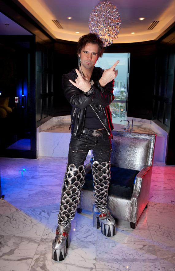 Jan Rouven, Star of ILLUSIONS, wears the Official KISS Boots at Hard Rock Hotel & Casino